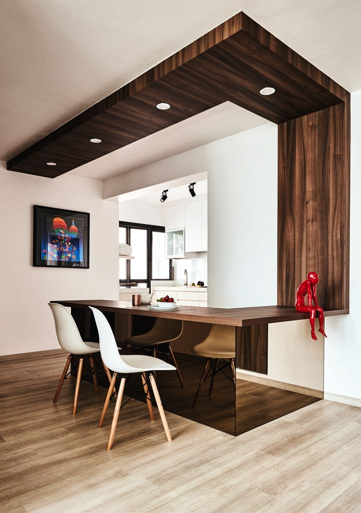 """""""I use this L-shaped dining table when entertaining my guests, too,"""" says Lilian."""