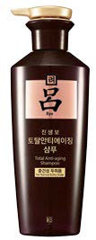 Ryo Jinsaengbo Total Anti-Aging Shampoo for Normal & Dry Scalp, $16.70 (400 ml), replenishes scalp and strengthens hair root with herbs such as ginseng and figwort.