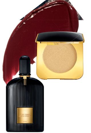 Black Orchid EDP, $258 for 100ml, Tom Ford Beauty. Nightbloom Powder, $114, Tom Ford Beauty. Lip Color in Black Orchid, $84, Tom Ford Beauty.