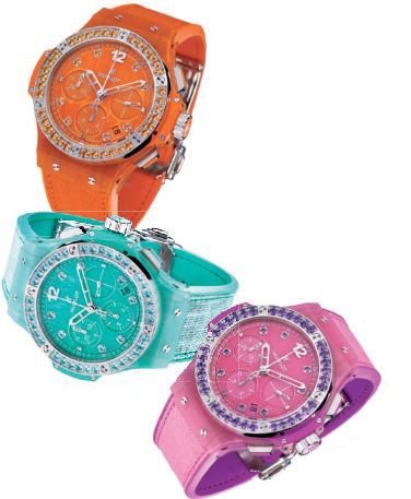 Big Bang Tutti Frutti Linen watches in steel and orange sapphire; steel and topaz; steel and amethyst, Hublot