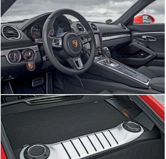"""Cockpit and  its options  are similar to 718 Boxster's, but with a """"closed"""" coupe configuration that comes with a roomier rear boot."""