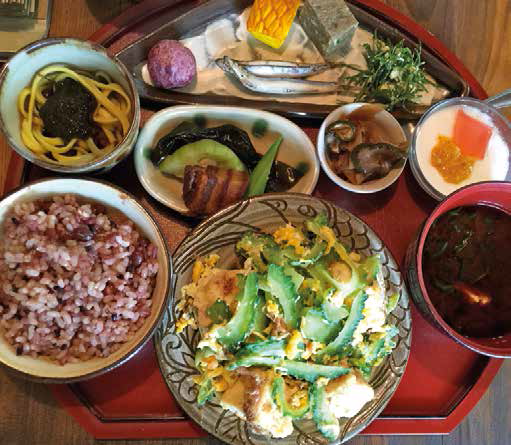 Emi No Mise's choju zen or longevity meal features the best of the island's superfoods.