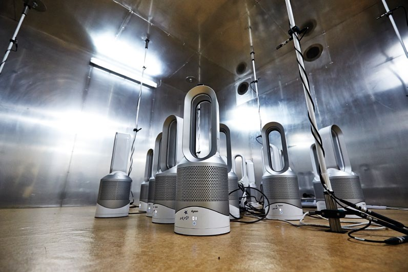 A host of Dyson humidifiers are tested in this chamber.