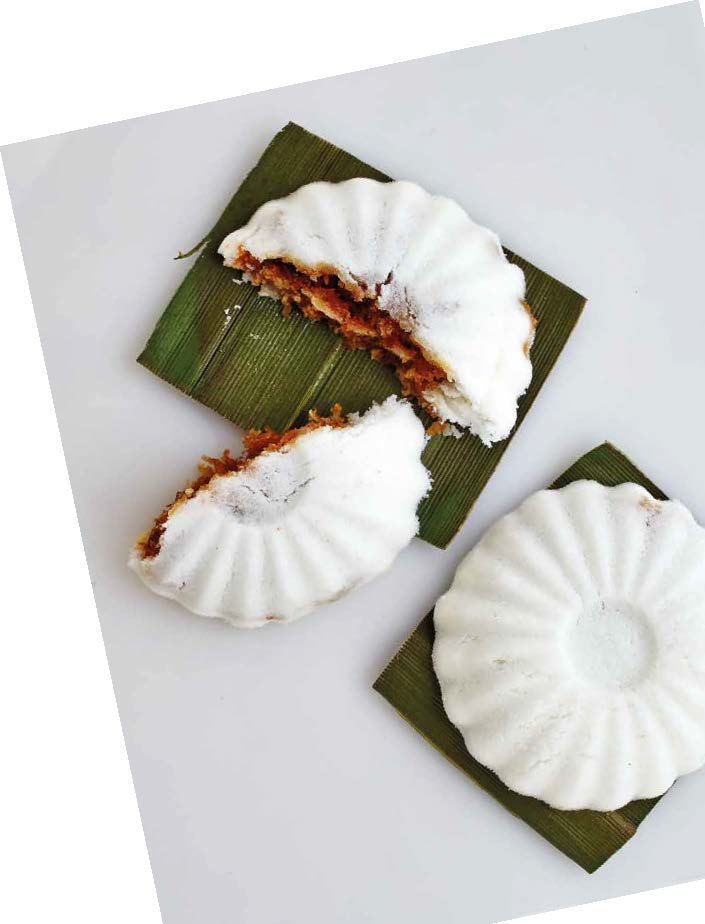 Kueh tutu with coconut filling 
