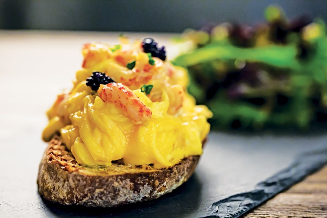 Scrambled Eggs with Crayfish and Caviar