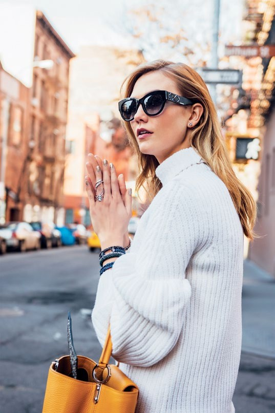 Karlie Kloss wearing the latest pieces from the Swarovski fall/ winter 2016 collection