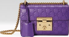 Embossed leather, price unavailable, from Gucci.