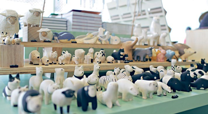 Whimsical wooden animal figurines