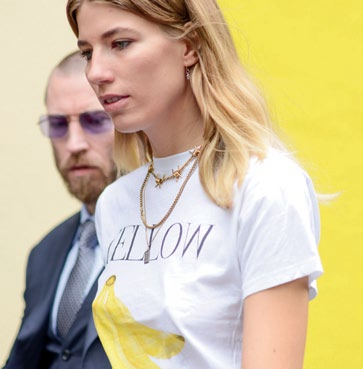 Veronika Heilbrunner opts for a tongue-in-cheek touch with her t-shirt