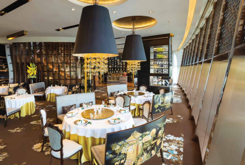 Clockwise from left: Beautiful plating is expected at The Manor at The St. Regis, Macao; greenery at Pearl Dragon, Studio City Macau; spectacular interiors of Jade Dragon at Crown Towers; a scrumptious seafood platter at The Ritz-Carlton Café