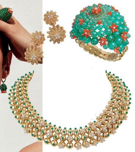 From top: Gold and diamond Cactus de Cartier earrings; gold, chrysorase, emerald, carmelian and diamond Cactus de Cartier bracelet; gold, emerald and diamond Cactus de Cartier necklace, Catier
