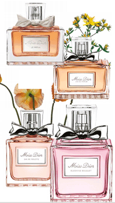 The stars of the Miss Dior line: (clockwise from above) Dior Miss Dior Le Parfum, $164, Dior Miss Dior EDP, $236, Dior Miss Dior Blooming Bouquet, $232, and Dior Miss Dior EDT, $190.