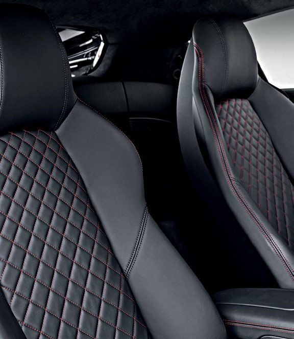 The R8's all-new sport seats offer several upholstery and colour choices, plus 226 litres of cargo space behind them.