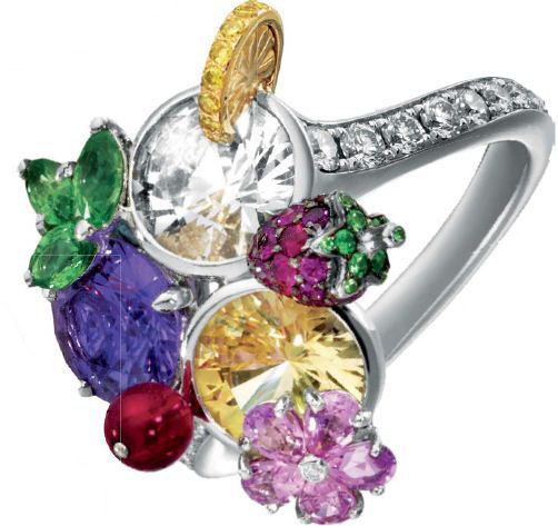 White gold, tsavorite, sapphire, rubies and yellow and white diamond Limelight Cocktail Trio Kiss Inspiration ring, Piaget