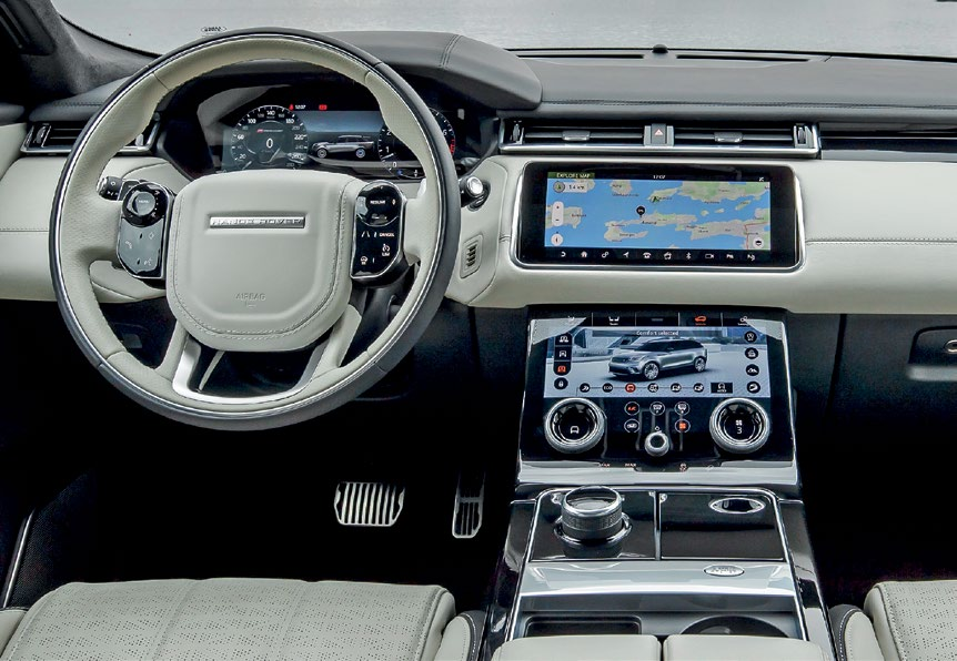 Velar's interior is spacious and luxurious, with an elegant simplicity, plus premium materials and interesting details.