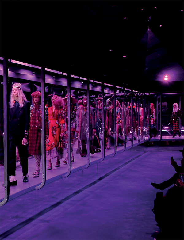 Models at Gucci's F/W '17 show walked to the soundtrack of hit sci-fi series The OA, and on a clinical glass chamber- turned-runway.