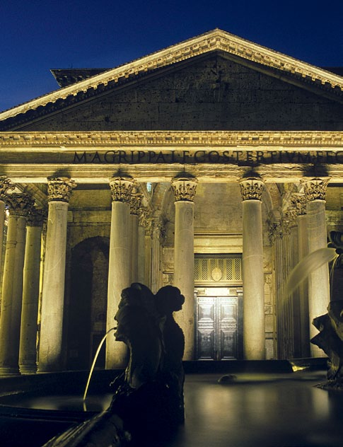 The Pantheon lit up against the night sky.