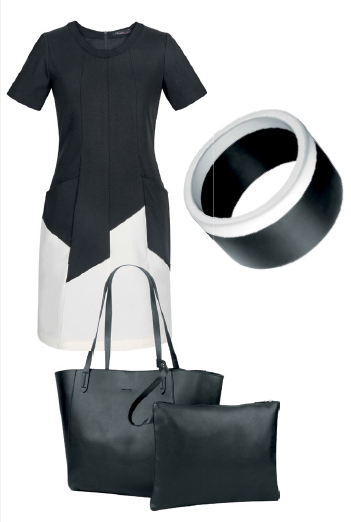 From top: Pocket dress, $189, Version. Bangle, $39, Ebony. Clare 2-in-1 bag, $99, Lver.