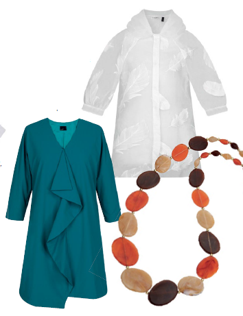 From top: Silk parka, $269, Carattere. Teagan ruff dress, $129, Lver. Necklace, $23, Anne Kelly.
