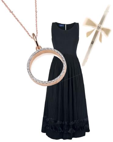 From left: Naida Circle Open pendant, $470; rose gold fine chain, $95, Monica Vinader. Chiffon dress, $169, Ebony. Headband with Swarovski crystals, $215, Alexandre De Paris.