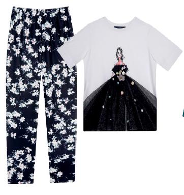From left: Pants, $401, Blue Les Copains, Top, $338, Blue Les Copains.
