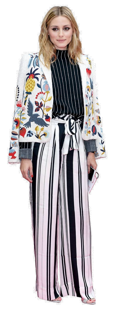 Olivia Palermo mixes a floral applique blazer with striped wide-leg pants.