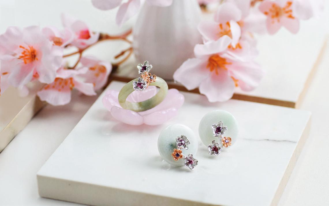 (Clockwise from left) Sakura Jade Ring and Sakura Floret Jade Studs.