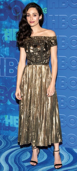 Emmy Rossum wows in an off-shoulder shimmery midi.