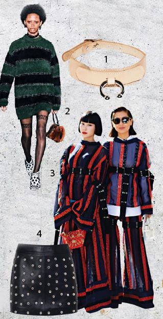 1 Zanabayne.com leather choker, $244 2 Alexander Wang 3 Mademoiselle Yulia and Liz Uy 4 MDS Collections faux leather skirt with studs, $129