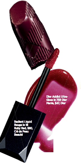 From above: Burberry Kisses in Oxblood No. 97, $45, Burberry Beauty, Dior Addict Ultra- Gloss in 759 Dior Mania, $47, Dior, Radiant Liquid Rouge in 18 Ruby Red, $80, Clé de Peau Beaute.