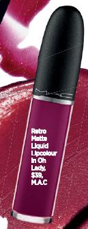 Retro Matte Liquid Lipcolour in Oh Lady, $39, M.A.C.