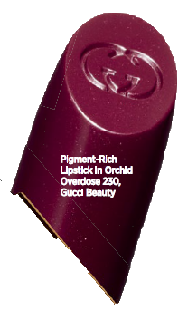 Pigment-Rich Lipstick in Orchid Overdose 230, Gucci Beauty.