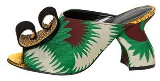 Fabric and leather mules (price unavailable), Dries van Noten.