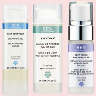 From right to far right: Ren Rosa Centifolia Cleansing Gel, $50. Ren Evercalm Global Protection Day Cream, $79. Ren Keep Young and Beautiful Instant Brightening Beauty Shot Eye Lift, $69.