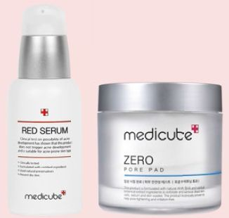 From right to far right: Medicube Red Serum, $52, and Medicube Zero Pore Pad, $35.