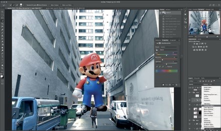 """13 Next, Guoxin selects the newly added Color Balance layer and then adds a Hue/Saturation layer to desaturate the colors by setting the Saturation to -30. Again, be sure the """"Clip to layer"""" option is enabled so that it only affects the Mario layer. By now the Mario should look it blends well with the background."""