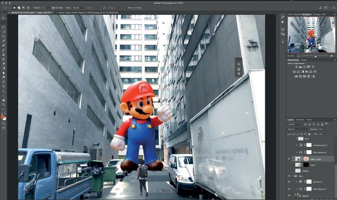 """8 Then, he resizes the objects to achieve the results as shown in Fig. 8. The order of the layers should be as follows. Lady > Mario > Background. Note: The imported images will be converted to """"Smart Objects"""" by default, but this format is a good way to preserve the image quality especially when you scale it."""
