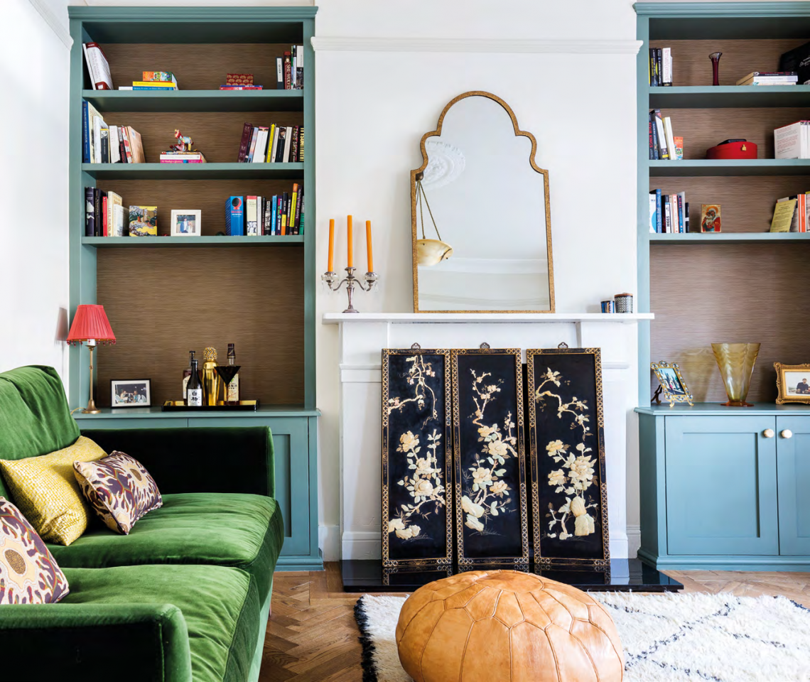 The living room is an eclectic mix of Mid-Century with Art Deco references and a bohemian, well-travelled twist.