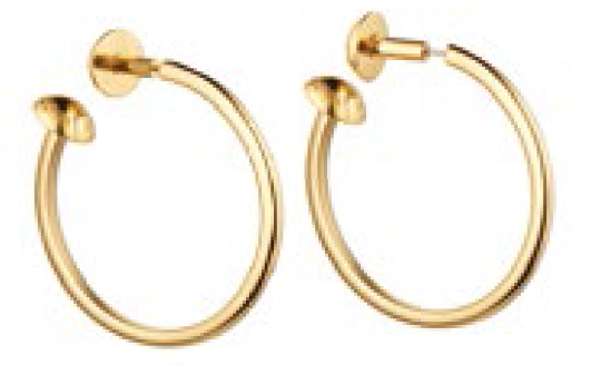 Metal earrings, $800.