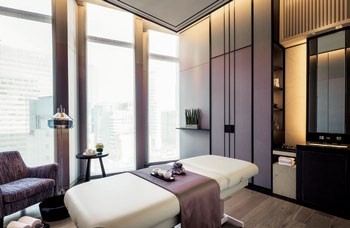 The treatment rooms incorporate traditional  Korean elements and ultra-modern finishings