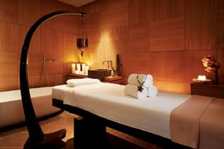 The warmly-lit treatment room