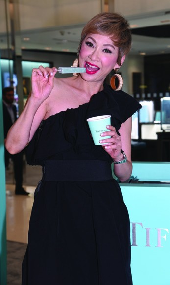 4. Candice Yu enjoying the Tiffany Blue popsicle