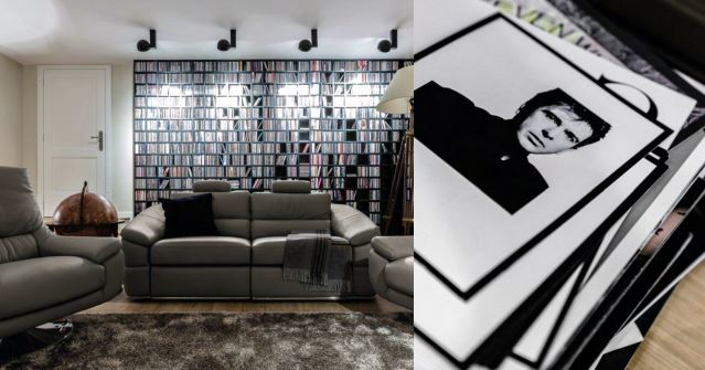 The couple's impressive music collection  is proudly displayed along the wall.