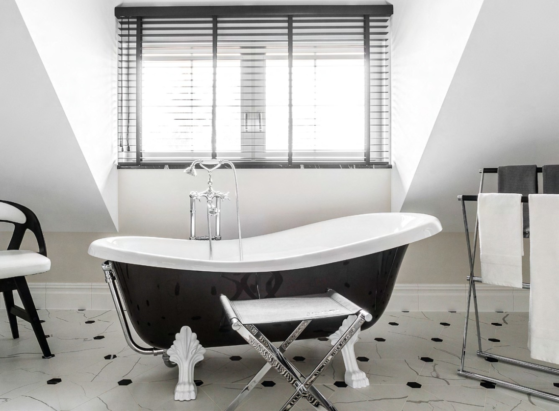 The freestanding bathtub is an instant head-turner.