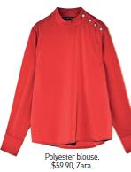 Polyester blouse, $59.90, Zara.