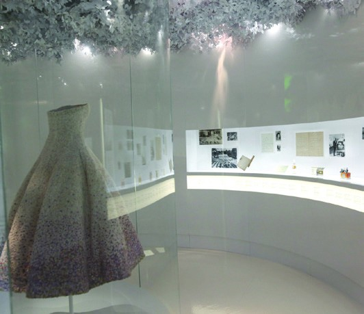 2. Exhibition showcasing Dior's signature dresses