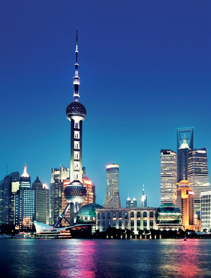 The glittering Pudong skyline in Shanghai