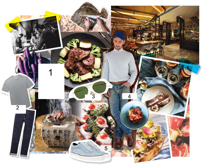 1: A global hunt for the freshest produce has allowed this chef to create plates that take palates around the globe from his restaurants, including Adrift by David Myers at Marina Bay Sands ; 2: T-shirt, James Perse; jeans, A.P.C., both at Mr Porter ; 3: Sunglasses, Oliver Peoples ; 4: A.P.C. spring/summer 2018