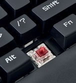 The K23 uses silent, linear KRGD  Red switches.