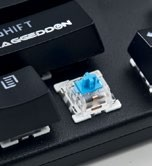 The Outemu Blue switches here are modular and hot-swappable.